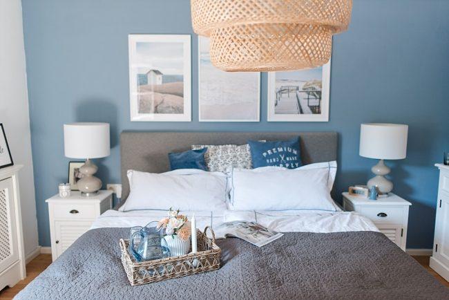 Unser neues Schlafzimmer und eine Lösung für die blaue Wand ...